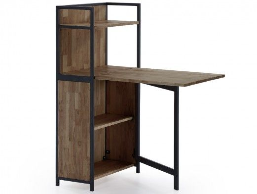 Estantería con mesa de estudio plegable de madera color roble americano  merkamueble