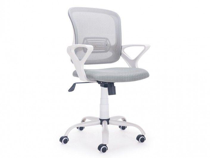 Silla de oficina giratoria / elevable, con refuerzo lumbar y ruedas antirayas color blanco  merkamueble