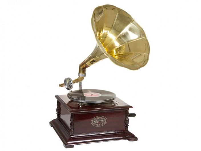 Gramófono cuadrado latón  merkamueble