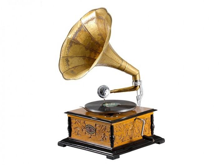 Gramófono cuadrado con grabado  merkamueble