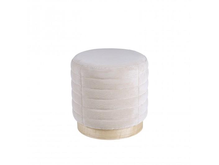 Puf redondo con tela rayada tapizado beige y base de madera  merkamueble