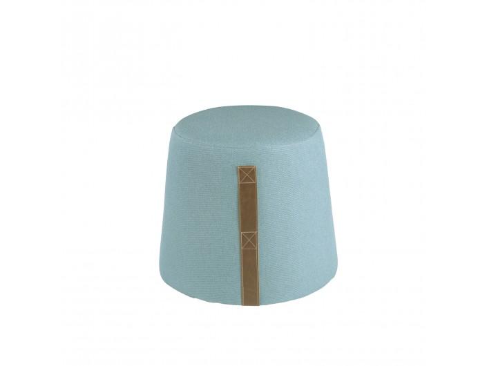 Puf de forma cónica con asa lateral tapizado azul  merkamueble