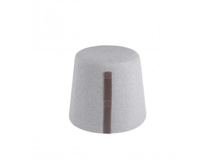 Puf de forma cónica con asa lateral tapizado gris  merkamueble