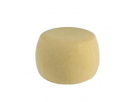 Puf redondo tapizado mostaza