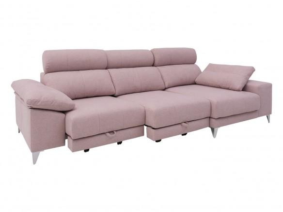 Chaise longue derecho con asientos deslizantes de carro tapizado rosa  merkamueble
