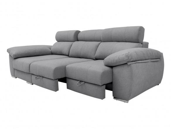 Chaise longue izquierdo con asientos deslizantes de carro tapizado gris  merkamueble