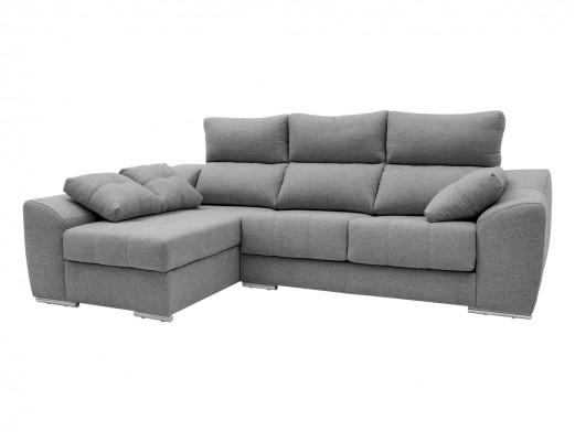 Chaise longue izquierdo con asientos deslizantes tapizado gris  merkamueble