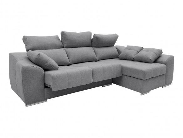 Chaise longue derecho con asientos deslizantes tapizado gris  merkamueble