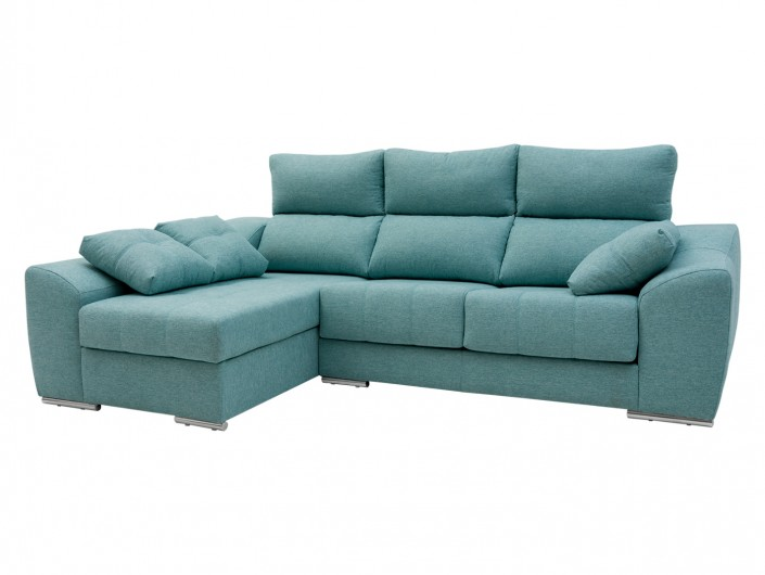 Chaise longue izquierdo con asientos deslizantes tapizado verde  merkamueble