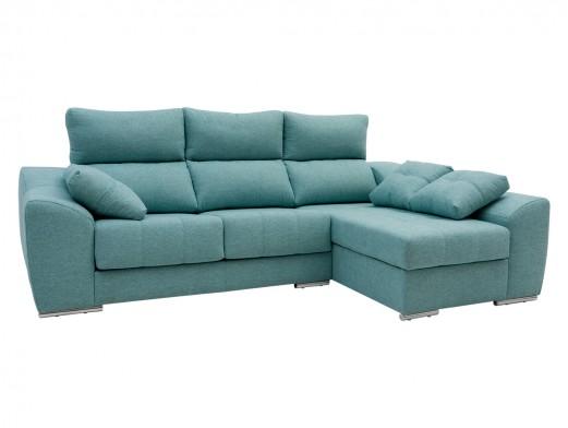 Chaise longue derecho con asientos deslizantes tapizado verde  merkamueble