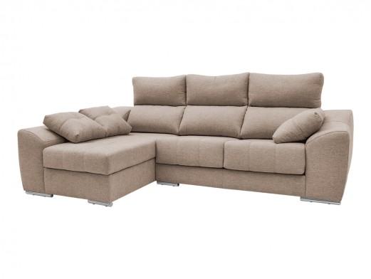 Chaise longue izquierdo con asientos deslizantes tapizado beige  merkamueble