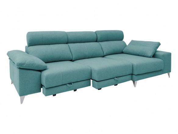 Chaise longue derecho con asientos deslizantes de carro tapizado verde  merkamueble