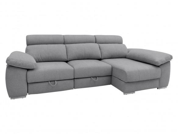 Chaise longue derecho con asientos deslizantes de carro tapizado gris  merkamueble