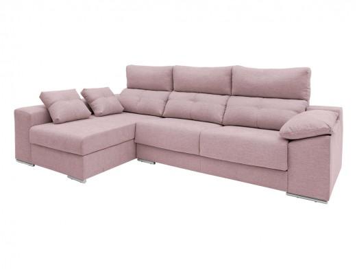 Chaise longue izquierdo con asientos deslizantes tapizado rosa  merkamueble