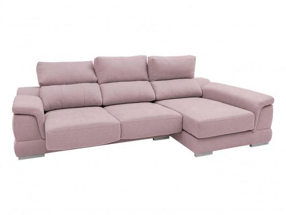 Chaise longue derecho con asientos deslizantes tapizado rosa  merkamueble
