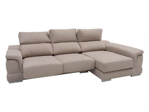 Chaise longue derecho con asientos deslizantes tapizado beige  merkamueble