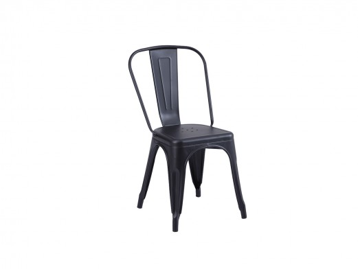 Pack 4 sillas vintage de chapa de acero color negro  merkamueble