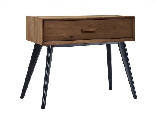 Mesita de noche con un cajón de madera de pino reciclado  merkamueble