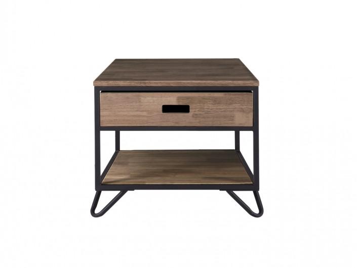 Mesita de noche diseño industrial de madera de roble americano y metal negro con 1 cajón  merkamueble