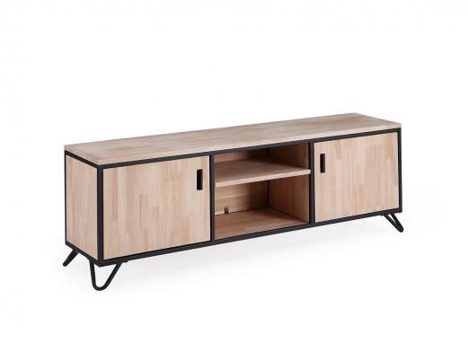 Mueble TV diseño industrial de madera de roble nordish y metal negro con 2 puertas  merkamueble