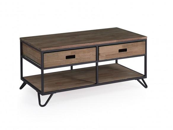 Mesa de centro diseño industrial de madera de roble americano y metal negro con 2 cajones  merkamueble