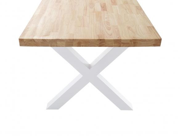 Mesa de comedor fija con tapa de madera de roble y patas metálicas blancas  merkamueble