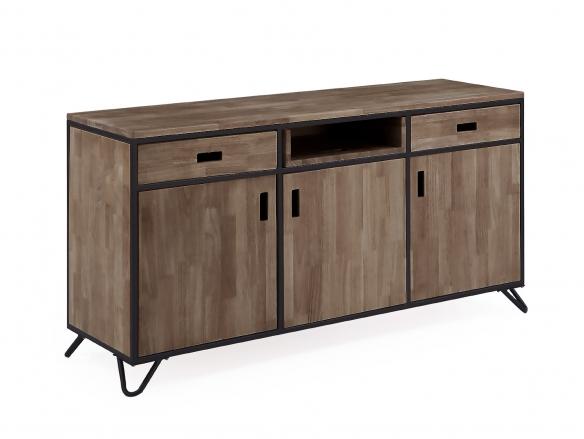 Aparador diseño industrial de madera de roble americano y metal negro  merkamueble