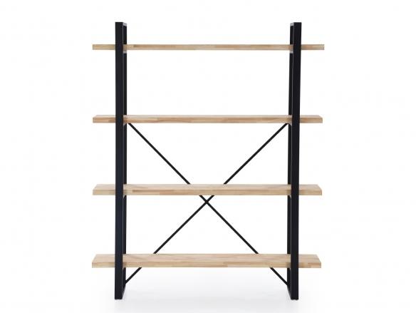 Estantería alta con 4 estantes de madera de roble y estructura metálica color negro  merkamueble