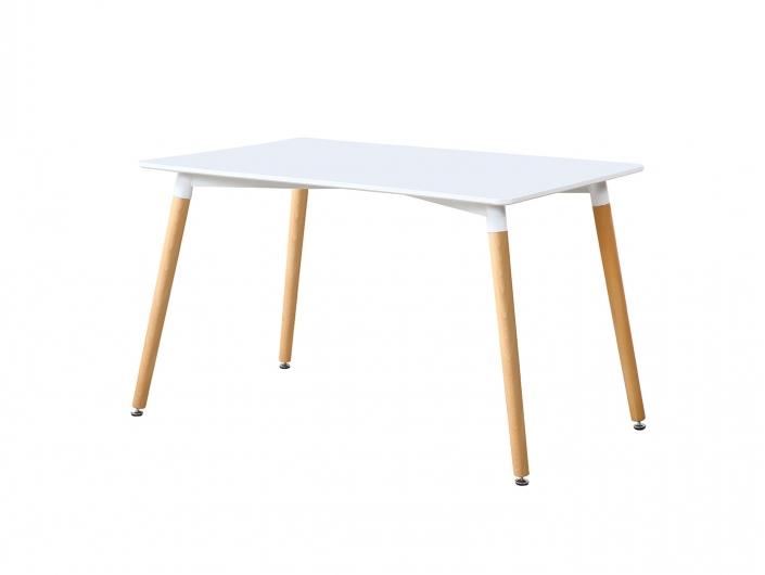 Mesa de comedor fija con tapa lacada blanca y patas de madera de haya  merkamueble