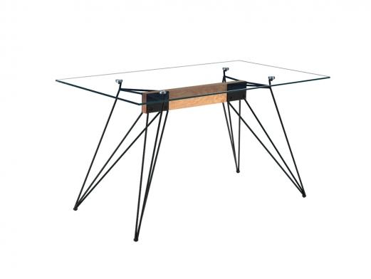 Mesa de comedor fija con tapa de cristal templado y patas metálicas negras  merkamueble