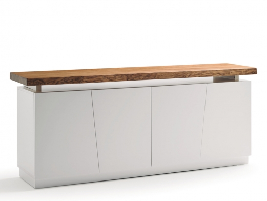 Aparador de 4 puertas color blanco con tapa de madera maciza de fresno  merkamueble