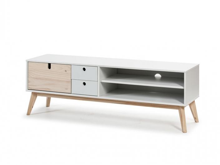 Mueble TV 1 puerta, 2 huecos y 2 cajones color blanco-natural  merkamueble