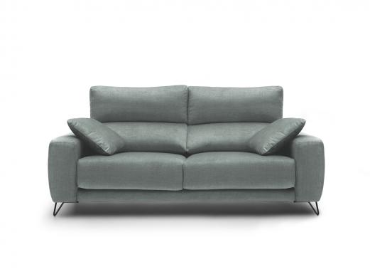 Sofá 3p con asientos deslizantes tapizado verde agua  merkamueble