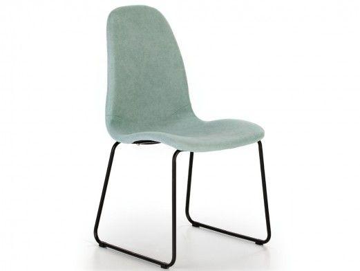 Pack 2 sillas de comedor tapizado turquesa y patas metálicas  merkamueble