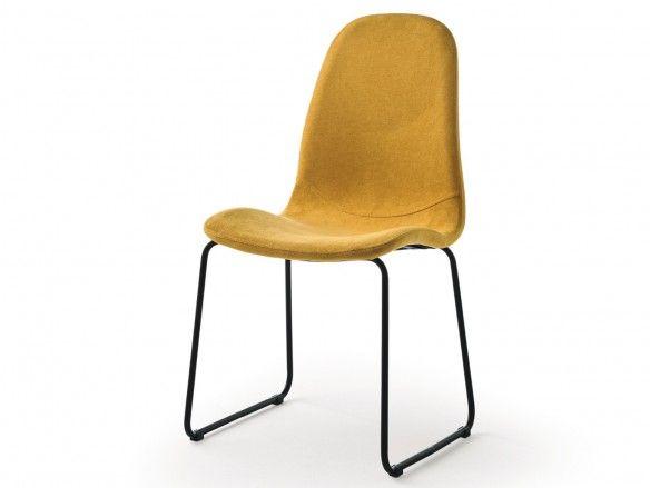 Pack 2 sillas de comedor tapizado mostaza y patas metálicas  merkamueble
