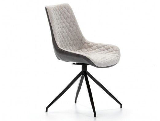 Pack 2 sillas de comedor símil piel gris combinada y patas metálicas  merkamueble