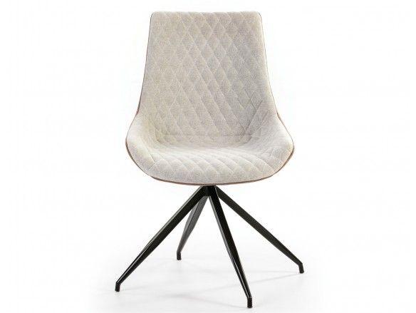 Pack 2 sillas de comedor símil piel marrón combinada y patas metálicas  merkamueble