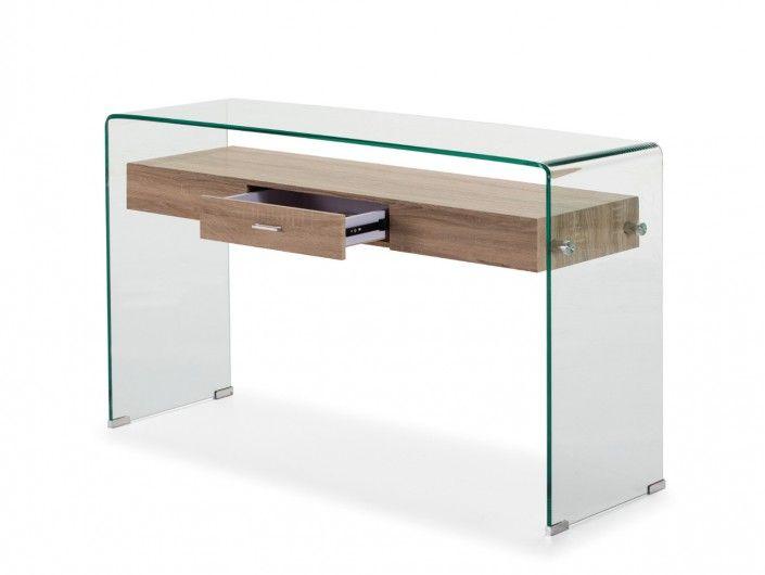Consola de cristal con cajón de madera  merkamueble
