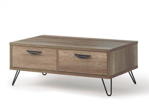 Mesa de centro color madera y patas metálicas  merkamueble