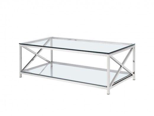 Mesa de centro acero inoxidable y cristal  merkamueble