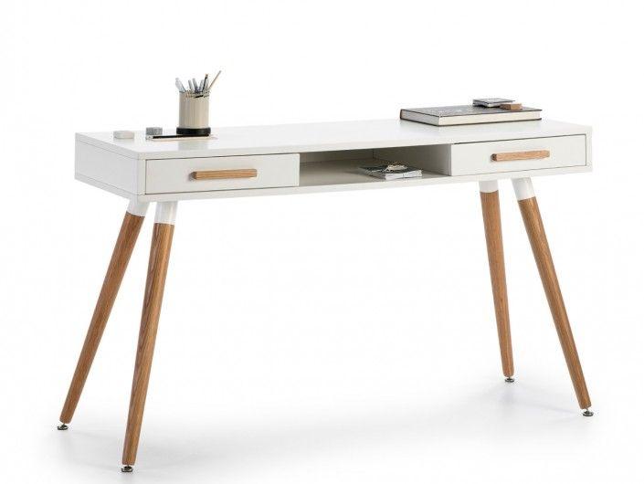 Mesa de escritorio color blanco roble  merkamueble