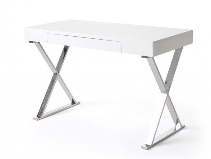 Mesa de escritorio color blanco y patas acero inoxidable  merkamueble