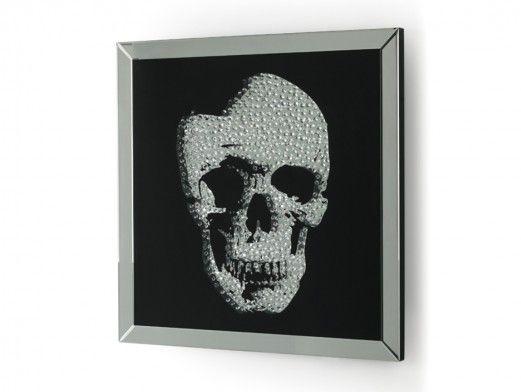 Espejo Calavera plata y negro