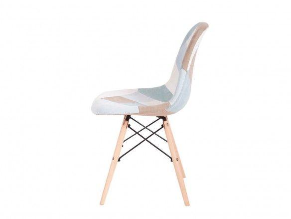 Pack 4 sillas de comedor tapizado azul y patas madera  merkamueble
