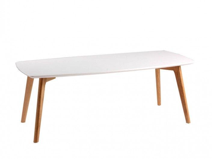 Mesa de centro rectangular y patas madera  merkamueble