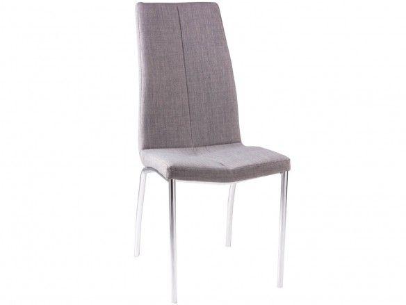 Pack 4 sillas de comedor tapizado gris claro y patas metálicas  merkamueble