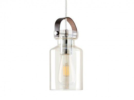 Lámpara de techo cristal/cuero  merkamueble