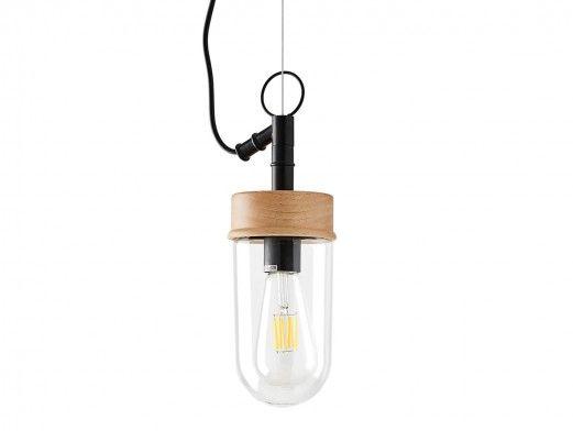 Lámpara de techo madera/metal/cristal  merkamueble
