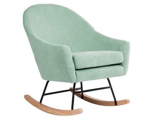 Mecedora tapizada en menta y patas acero/madera  merkamueble