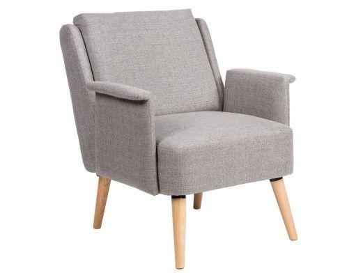 Sillón tapizado gris y patas madera  merkamueble